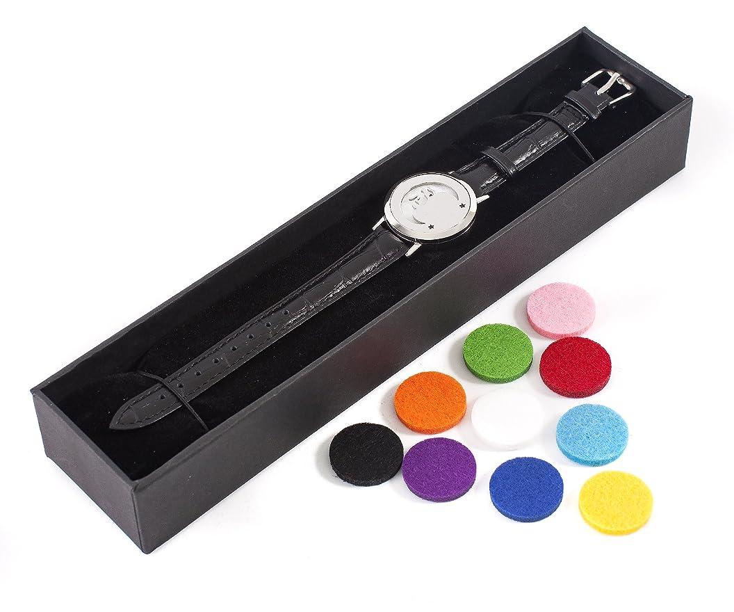 広々デクリメント必要Mystic Moments | Mystical Moon | Aromatherapy Oil Diffuser Bracelet with Adjustable Black Leather Strap