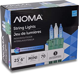 NOMA Premium Mini LED Christmas Lights   Indoor/Outdoor String Lights   Blue and Clear Pure White Bulbs   70 Light Set   23.6 Foot Strand