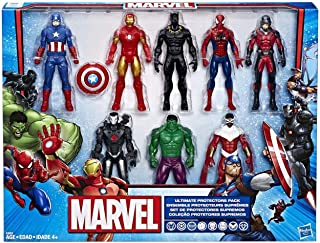 MARVEL Ultimate Protectors Pack - 8 Action Figures - Hulk, Iron Man, Ant-Man, Black Panther, Captain America, Spider-Man - Kids Super Hero Toys - Ages 4+