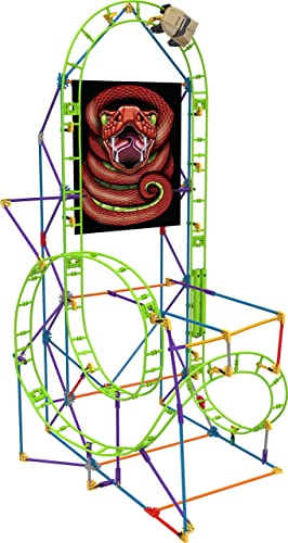 K'NEX 33868 - Thrill Rides Building Set Cobra'S Coil Roller Coaster, Baukasten Achterbahn mit 201 Teilen, Bau- und Konstruktionsspielzeug Set für eine Rollercoaster Bahn, Bauset für Kinder ab 7+ Jahre