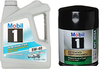 Mobil 1 5W-40 Turbo Diesel Truck Motor Oil, 1-Gallon Bundle with Mobil 1 M1-303A Extended Performance Oil Filter
