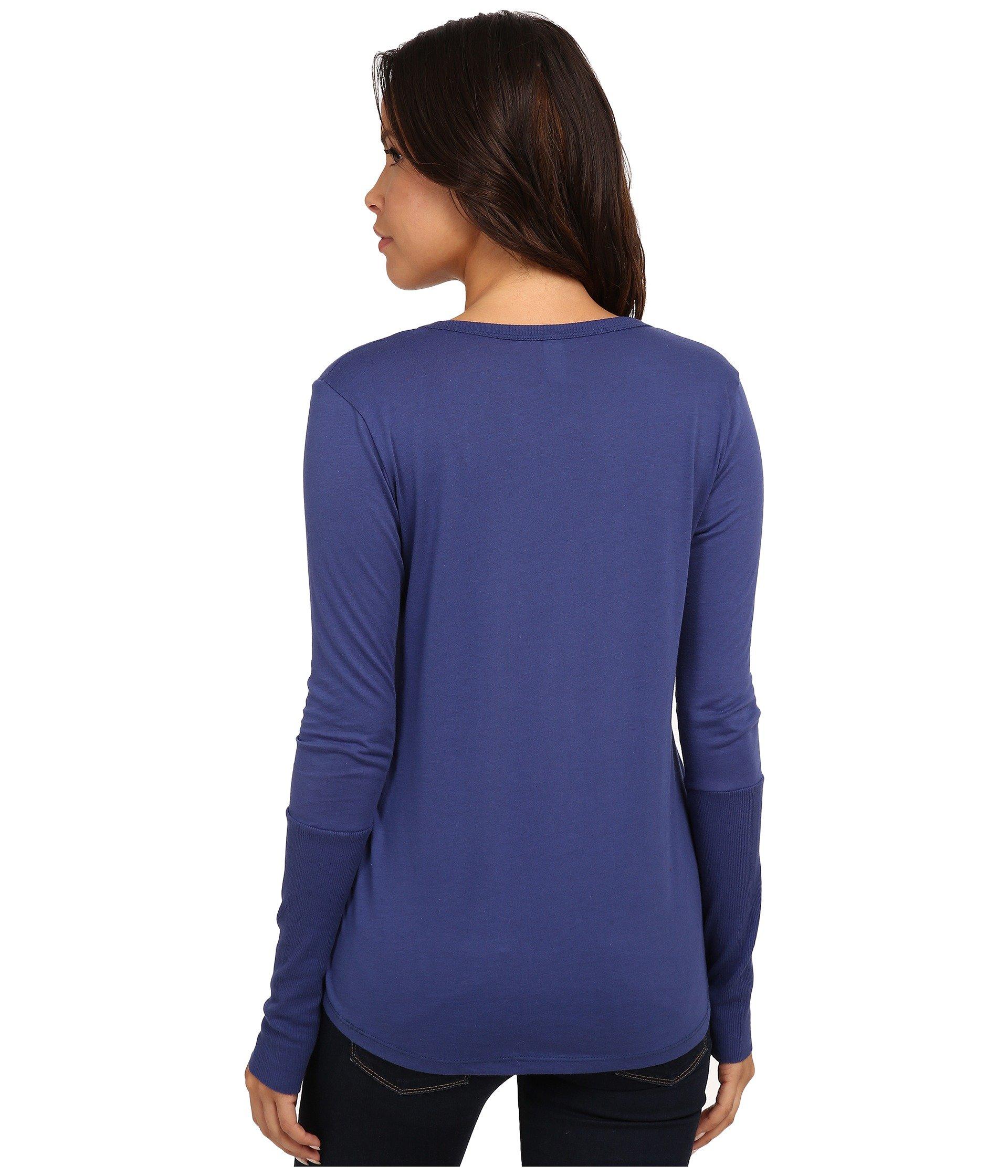 Alternative scoop neck t shirt long sleeve navy modesens for Long sleeve scoop neck shirt