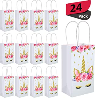 SATINIOR Unicorn Party Favor Bags, Unicorn Party Goodie Treat Gift Candy Bags with Handle for Unicorn Birthday Party Suppliers Baby Shower (24 Packs)