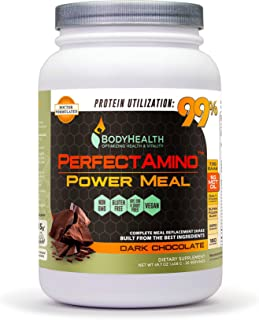BodyHealth PerfectAmino Complete Power Meal Replacement Shake (Dark Chocolate, Container, 20 Servings) Organic Protein Powder Drink w/MCT Oil, Probiotics, Vegan, High Nutrition, Weight Loss Diet