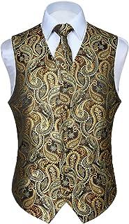 HISDERN męska kamizelka paisley, kwiecista, żakardowa, krawat, kieszonkowa kwadratowa poszetka, ślub, przyjęcie biznesowe,...