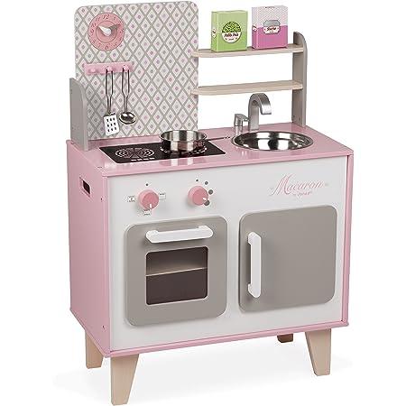 Janod - Cucina Macaron (legno), dotata di frigo e forno a microonde, gioco di imitazione sonoro, 5 accessori inclusi, per bambini dai 3 anni in su, J06567, colore: rosa e bianco