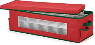 Whitmor Ornament Storage Box 42 Compartments with Outer Pocket for Ornament Hooks