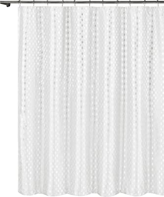 Vera Neumann Diamond Shower Curtain Hendrix Metallic-Machine Washable-Water Repellent Fabric-Decorative Modern Bathroom Collection-72x72 White, 72x72