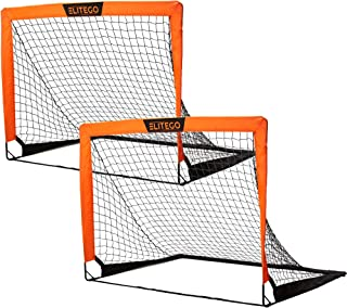 EliteGo Portable Soccer Goal | Instant Pop Up Net | Fiberglass Poles, Sets of 2