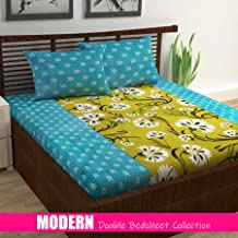 Divine Casa 100% Cotton 144 Tc Floral Double Bedsheet with 2 Pillow Covers - Turquoise and Yellow