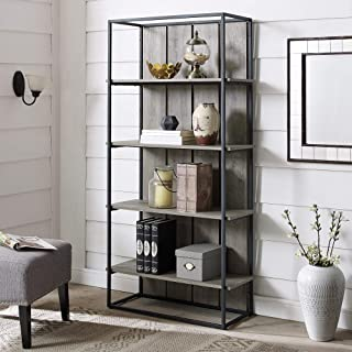 Walker Edison Furniture Company Rustic Farmhouse Metal and Wood Bookcase Bookshelf Home Office Living Room Storage, 4 Shelf, Grey