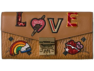 MCM Patricia Love Patch Flap Wallet/Two-Fold Large (Cognac) Handbags