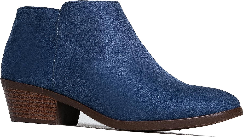 J. Adams Western Ankle Boot - Cowgirl Low Heel Closed Toe Casual Bootie - Comfortable Walking Slip On, Denim bluee,7