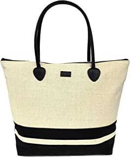 Tote Shoulder Beach Bag In Canvas Fashion Striped Large Foldable