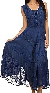Sakkas Azalea Stonewashed Rayon Embroidery Corset Style Dress