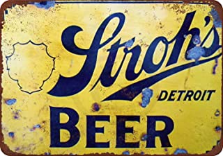 New Tin Sign Stroh's Beer Vintage Aluminum Metal Signes