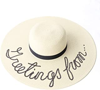 Sun Hat for Women Bold Cursive Embroidered Adjustable Beach Hats Large Wide Brim Foldable