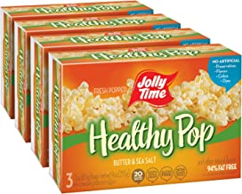 JOLLY TIME Healthy Pop Butter | Low Calorie Lightly Buttered Microwave Popcorn - Whole Grain 94% Fat Free Snack for Adults (3-Count Box, Pack of 4)
