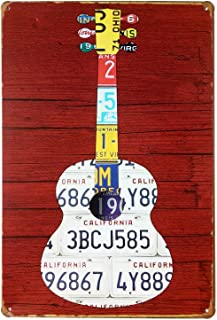 ERLOOD Music Guitar Change The World Retro Vintage Tin Sign Wall Decor Retro Metal Art Bar Pub Poster 8 X 12