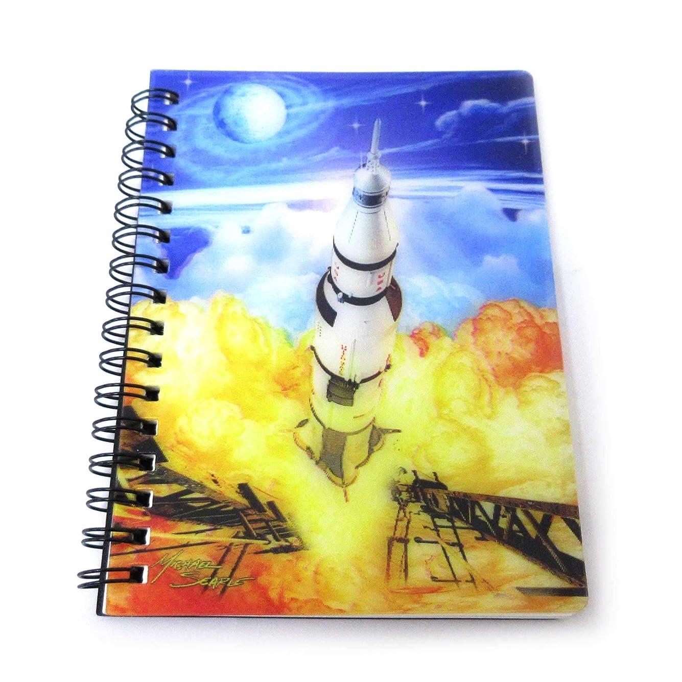 パキスタン人ビュッフェおじさんノート 文房具 A6 メモ帳 浮き出る 3Dリングノート アポロ 宇宙 301-937