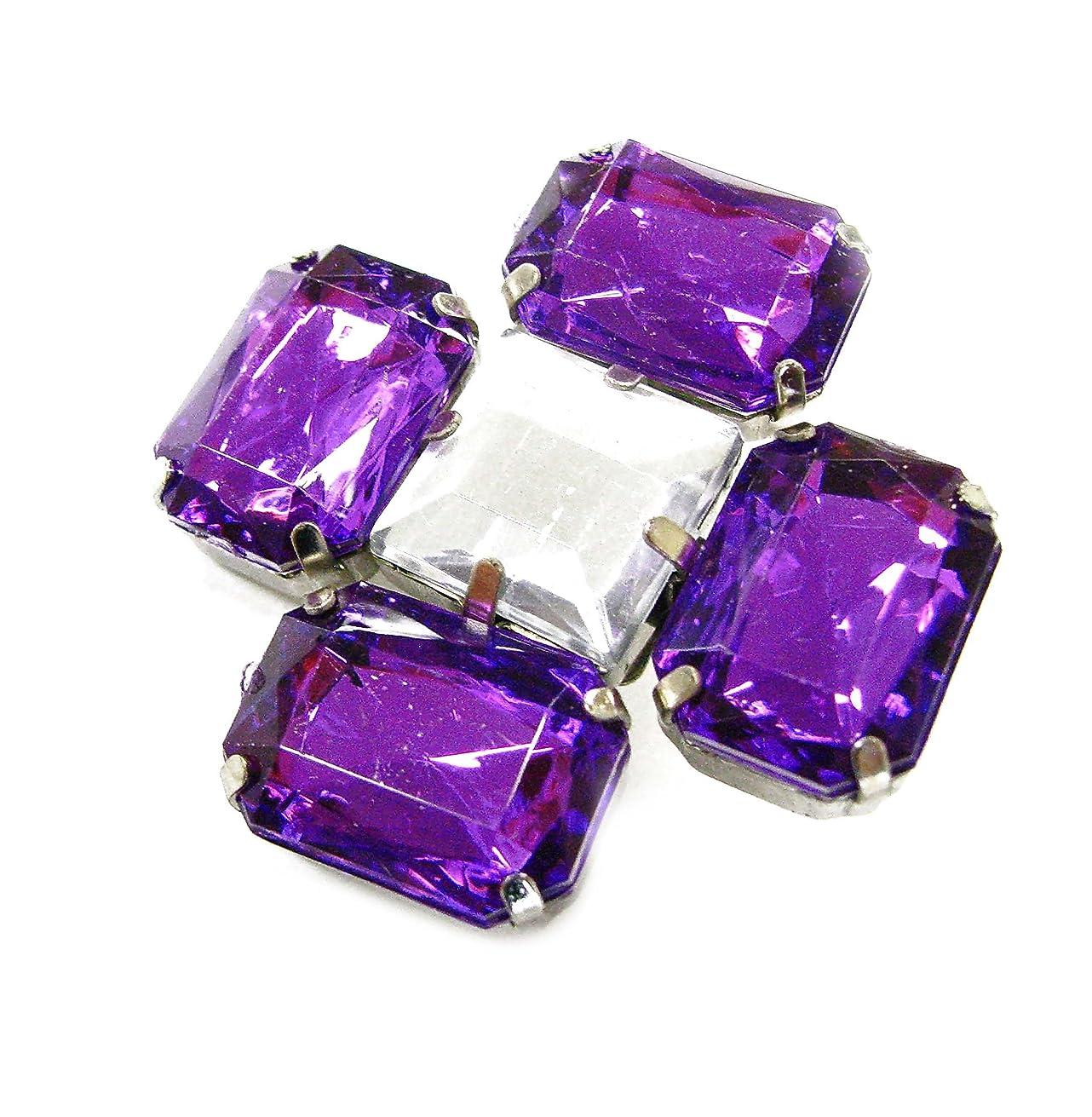 Linpeng Multi-Purpose Flower Shape Acrylic Jewel Stone Pin Brooch-FSBR-12-Purple, Purple