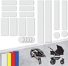 Tampen 21x Reflektor Aufkleber Sticker Set  hohe Sichtbarkeit im Herbst und Winter  Reflektoren für Kinderwagen, Fahrrad, Helm uvm.  wasserfeste Leuchtaufkleber  Weiß