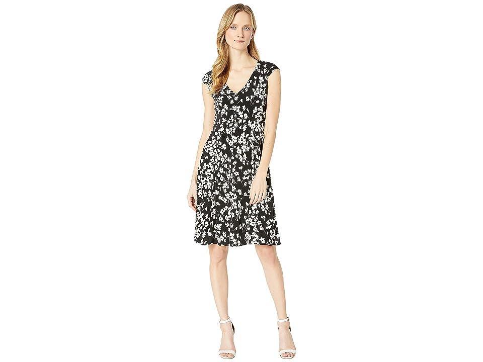 b28db62f London Times Printed Matte Jersey Spring Stem Dress (Black/White) Women