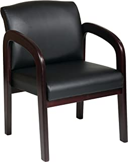 Office Star Visitors Chair with Mahogany Finish Base and Arms, Black Faux Leather