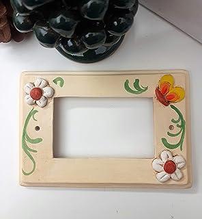 Le Ceramiche Del Re, Placchetta Living in Ceramica per tre pulsanti,Decoro con fiori e farfalle personalizzabile