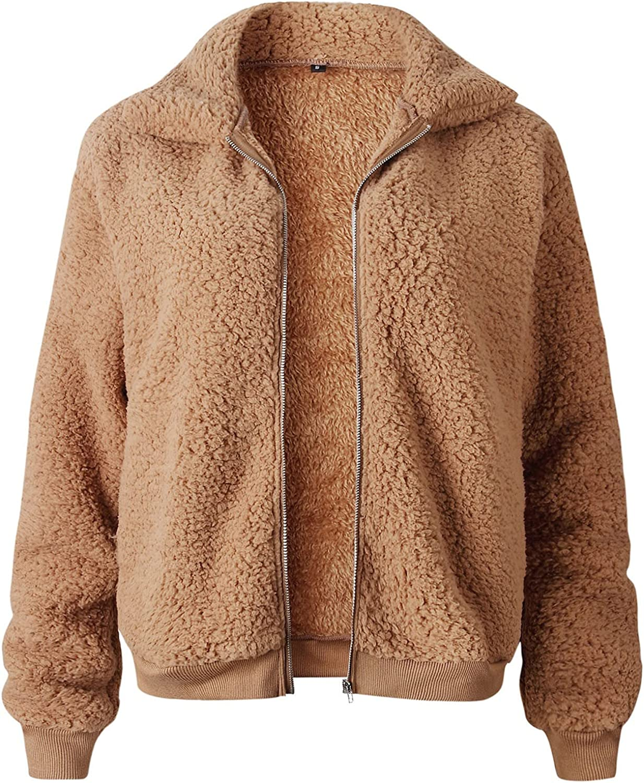 BZSHBS Lapel Fleece Fuzzy Coat for Women Faux Shearling Shaggy Zip Up Long Sleeve Oversized Jacket with Pockets Warm Winter