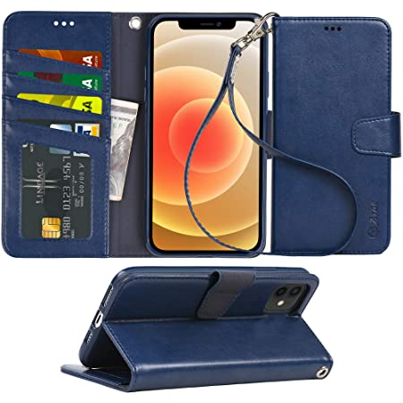 Arae Compatible with iPhone 12 Case and iPhone 12 Pro Case Wallet Flip Cover with Card Holder and Wrist Strap for iPhone 12/12 Pro 6.1 inch - Blue