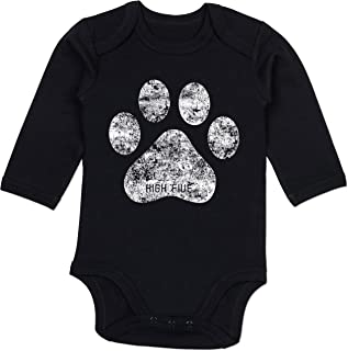 Shirtracer Tiermotive Baby - High Five Hunde Pfote - Baby Body Langarm