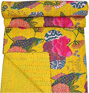 Real Online Seller Indian Fruit Reversible Bedspread Pattern Yellow Gudri Pure Cotton Kantha Style Twin Size Quilt Bed Spread Floral & Fruit Print Decorative Kantha Stitch Quilt