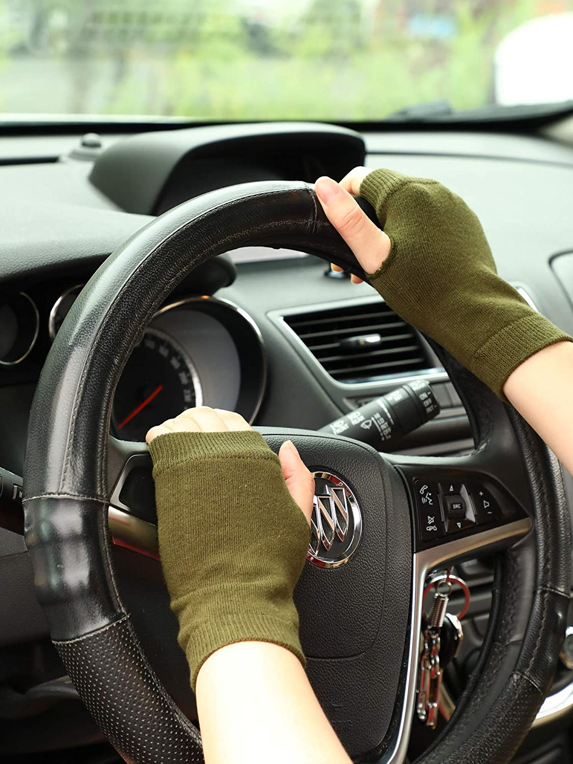 Blulu Fingerless Warm Gloves with Thumb Hole Cozy Half Fingerless Driving Gloves Knit Mittens for Men, Women (Black, Army Green, 2 Pairs)
