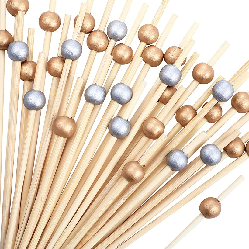Blulu 200 Pieces Cocktail Picks 4.7 Inch Fruit Sticks Pearl Bamboo Toothpicks for Wedding Birthday Party Supplies (Gold 1 and Silver 1)