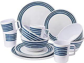 GEEZY - Juego de platos de melamina para camping, caravana, picnic, comedor al aire libre, 16 piezas