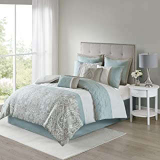 "510 Design Shawneel 8 Piece Bedding Comforter Set For Bedroom, Queen(90""x90""), Seafoam"