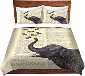 "DiaNoche Designs DuTw-MadameMemElephantButterf3 Duvet Cover Brushed Twill Queen/Full 88"" x 88"""