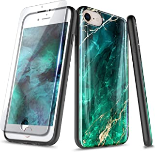 NageBee Case for iPhone SE, iPhoen 5S / iPhone 5, Ultra Slim Thin Glossy Stylish Marble Designed Protective Bumper Cover Phone Case with Tempered Glass Screen Protector for iPhone 5/5S/SE -Emerald