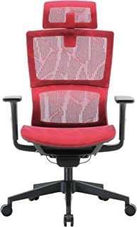 XUER Ergonomic Office Chair with Cozy Lumbar Support and Adjustable 3D Armrest, Computer Desk Chair with Mesh Seat and High Back, Multifunction for Relaxation (Red)