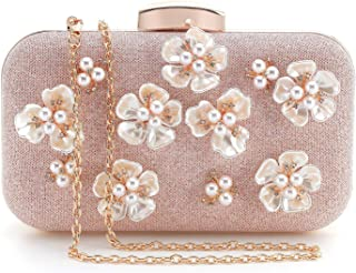 INOVERA Women's Glitter Floral Rhinestone Beaded Evening Party Clutch Wedding Bag Wallet, Rose Gold