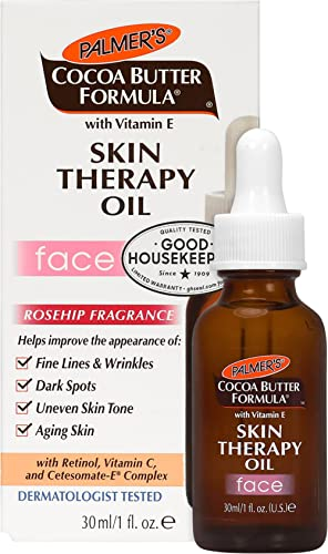 Palmer's Cocoa Butter Formula Moisturizing Skin Therapy Oil for Face with Vitamin E Rosehip Fragrance Rose, 1 Fl Oz