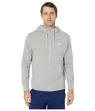 Nike NSW Club Hoodie Full Zip Jersey (Dark Grey Heather/White) Men
