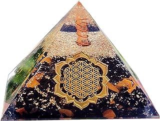 Piramide di tormalina Orgonite con diaspro giallo per protezione EMF Piramide di cristallo Fiore Fiore della vita Simbolo ...