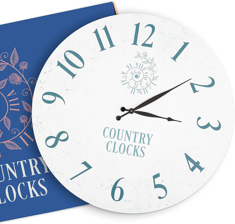 Decorative Wall Clock 24 inches - Farmhouse Wall Clock Non Ticking - Oversized Wall Clock Decorative