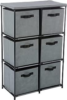 Homebi 6-Drawer Storage Chest Shelf Unit Storage Cabinet Multi-Bin Organizer with Removable Non-woven Fabric Bins in Grey,25