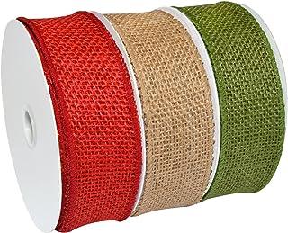 Morex Ribbon Holiday Burlap Ribbon, 1-1/2 Inch, 30-Yard, Natural/Green/Red