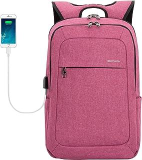 Kopack Women Laptop Backpack School USB Charging Port Anti Theft Laptop Compartment 15.6 Inch Laptop Bag Magenta