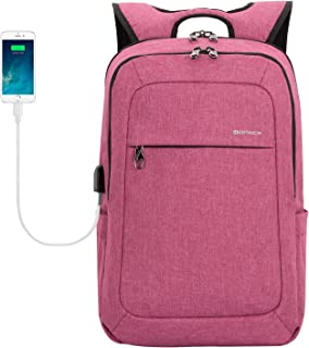 Kopack Women Laptop Backpack School USB Charging Port Anti Theft Laptop Compartment 15.6 Inch Laptop Bag Magenta