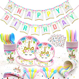 120 PCs Unicorn Party Supplies Kit Serves 16 Unicorn Birthday Party Supplies Happy Birthday Banner Cake Cutter Candles Goo...